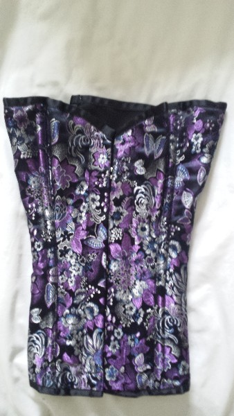 Lavender Chinese Silk Overbust Corset - Size 28""