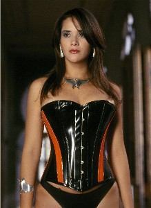 Orange Panelled PVC Overbust Corset - Size 28""