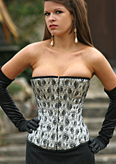Long Style Lace over Satin Corset