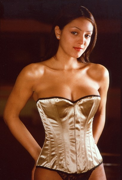 Old Gold Satin Overbust Corset - Size 18""