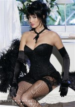 Black Satin with Sequin Overbust Corset