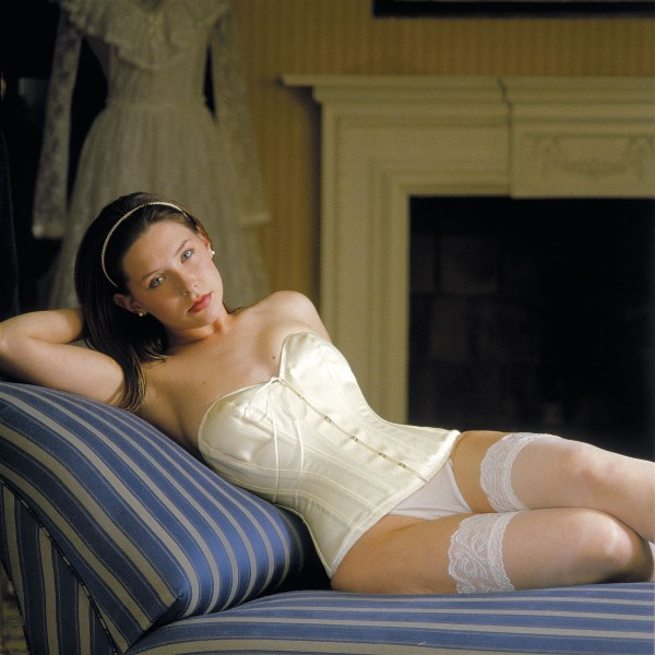 Bridal Corset with Cups in Ivory Satin - Size 20""