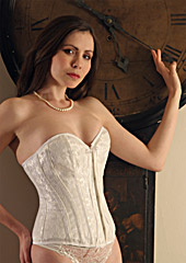 Ivory Satin Corset with Lace over Satin - Size 28""