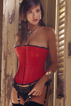 Red Satin Overbust Corset - Size 24""