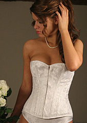 Bridal Lace over Satin Overbust Corset