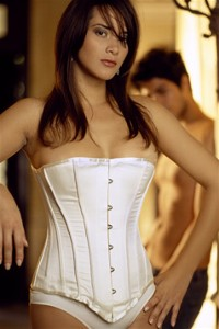 Ivory Satin with Bridal Braid Corset - Size 28""